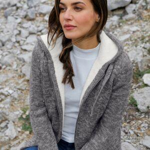 Blancheporte Žíhaný svetr na zip, se syntetickou kožešinou šedý melír 42/44