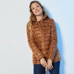 Blancheporte Krátká prošívaná lesklá bunda potisk karamelová 36