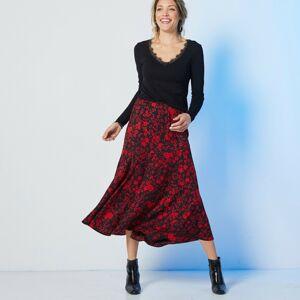 Blancheporte Dlouhá sukně s potiskem černá/červená 44