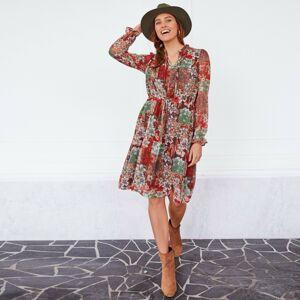 Blancheporte Volánové šaty s květinami khaki/béžová 36