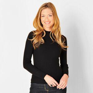 Blancheporte Žebrovaný pulovr se stojáčkem, délka cca 63 cm černá 50
