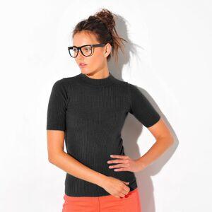 Blancheporte Žebrovaný pulovr s krátkými rukávy černá 34/36