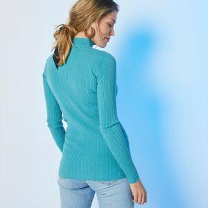 Blancheporte Žebrovaný pulovr se stojáčkem, délka cca 72 cm světle tyrkysová 52
