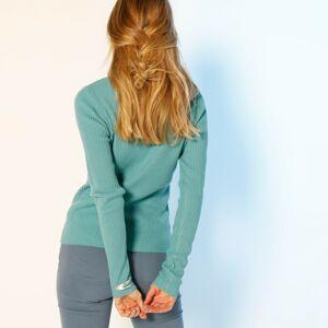 Blancheporte Žebrovaný pulovr se stojáčkem, délka cca 63 cm světle tyrkysová 54
