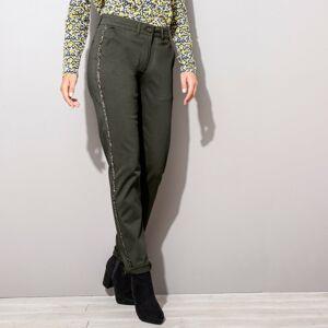 Blancheporte Chino kalhoty, třpytivé lampasy khaki 38