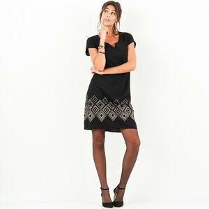 Blancheporte Šaty s měděným vzorem černá/měděná 50