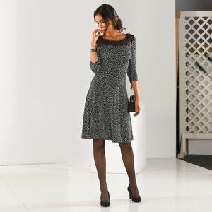 Blancheporte Šaty s potiskem a výšivkou černá/bílá 52