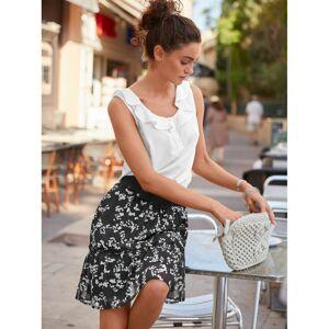 Blancheporte Dvoubarevná sukně s potiskem černá/bílá 38/40