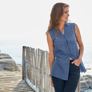 Blancheporte Džínová košile bez rukávů, ekologicky vyrobená modrá 42