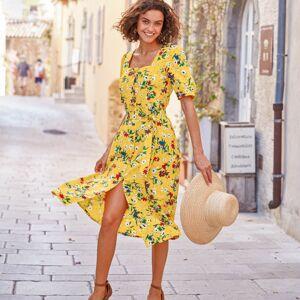 Blancheporte Šaty se čtvercovým výstřihem a potiskem žlutá/zelená 36
