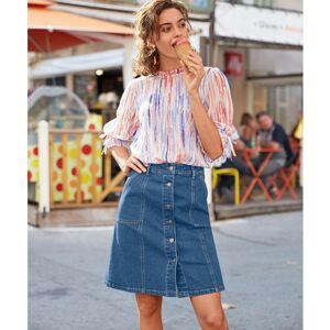 Blancheporte Džínová sukně na knoflíky modrá 46