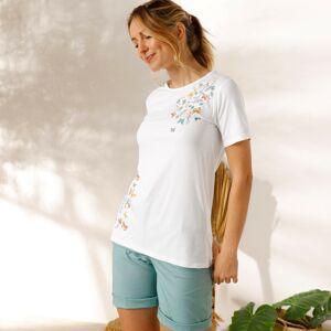 Blancheporte Bavlněné tričko s potiskem motýlů bílá 52