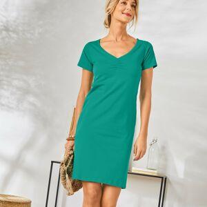 Blancheporte Jednobarevné šaty s krátkými rukávy mátová 34/36