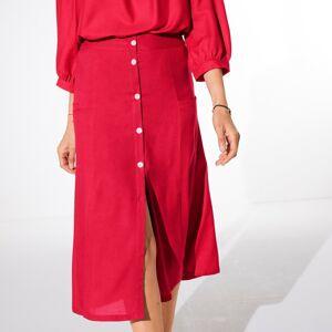Blancheporte Jednobarevná dlouhá sukně s knoflíky červená 38