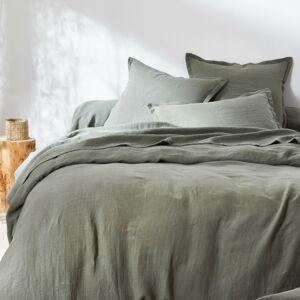 Blancheporte Jednobarevné ložní prádlo, ze lnu v prané úpravě zelená napínací prostěradlo 90x190cm