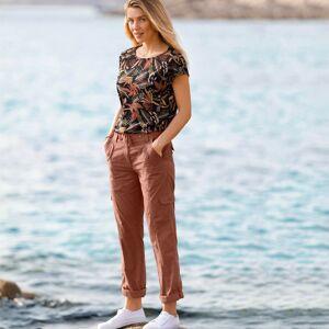 Blancheporte Rovné kalhoty s kapsami kaštanová 50