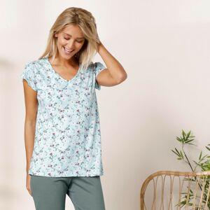 Blancheporte Pyžamové tričko s krátkými rukávy a potiskem smaragdová zelená 46/48