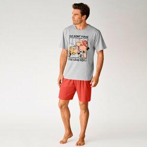 Blancheporte Pyžamo se šortkami Astérix šedá/červená 97/106 (L)