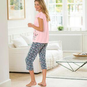 Blancheporte 3/4 pyžamové kalhoty s potiskem květin bronzová 46/48