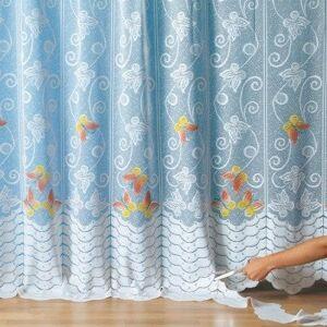 Blancheporte Krajková upravitelná záclona se vzorem motýlů bílá 175x240cm