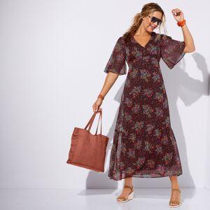 Blancheporte Dlouhé šaty, potisk čokoládová/modrá 54