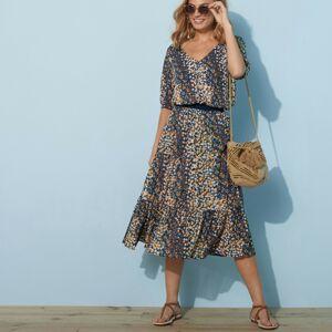 Blancheporte Krátká sukně s potiskem květin nám.modrá/kari 50
