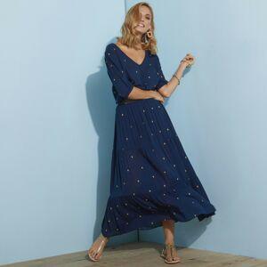 Blancheporte Dlouhá sukně se zlatým potiskem nám.modrá/zlatá 54