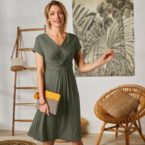 Blancheporte Krátké jednobarevné šaty khaki 50