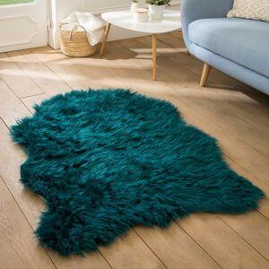 Blancheporte Koberec s dlouhým vlasem, tvar zvířecí kůže smaragdová 50x80cm