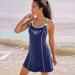 Blancheporte Jednodílné plavky se sukénkou modrá/anýzová 50