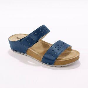 Blancheporte Kožené široké pantofle, námořnicky modré námořnická modrá 37