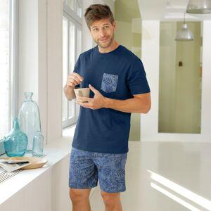 Blancheporte Pyžamo se šortkami a krátkými rukávy námořnická modrá 107/116 (XL)