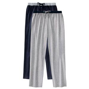 Blancheporte Pyžamové kalhoty, sada 2 ks nám.modrá+šedý melír 68/70