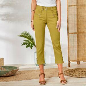 Blancheporte 3/4 barevné kalhoty s knoflíky na koncích nohavic medová 46