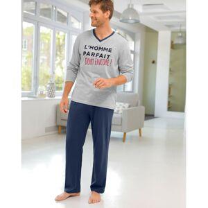 """Blancheporte Pyžamo s výstřihem do """"V"""" a dlouhými rukávy, kalhoty šedý melír/nám.modrá 77/86 (S)"""