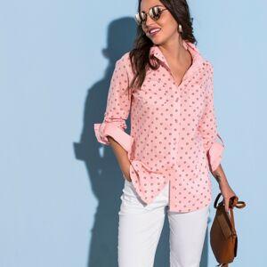 Blancheporte Dvoubarevná košile s potiskem a dlouhými rukávy růžová pudrová 40