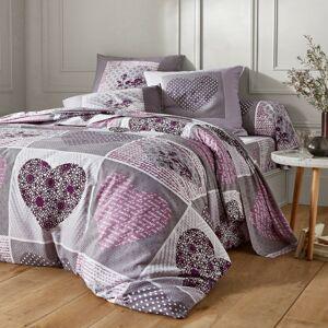 Blancheporte Povlečení Lovely, bavlna šedá/lila povlak na přikrývku 140x200cm