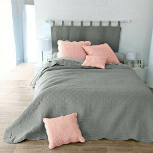 Blancheporte Jednobarevný prošívaný přehoz na postel Cassandre perlově šedá povlak na polštář 65x65cm,lem