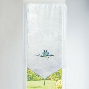 Blancheporte Vitrážová záclonka Sova modrá/zelená 45x160cm