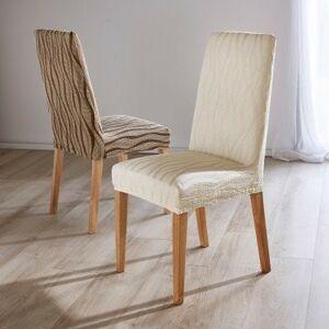 Blancheporte Pružný žakárový potah na židle, sada 2 ks režná 2 kusy