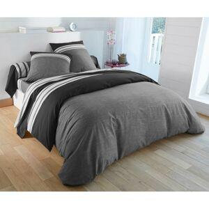 Blancheporte Povlečení Natálie, bavlna šedá/černá napínací prostěradlo 90x190cm