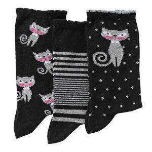Blancheporte Ponožky s kočičkou, sada 3 párů sada černá 39/42