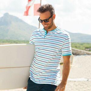 Blancheporte Pruhované tričko s tuniským výstřihem tyrkysová 87/96 (M)