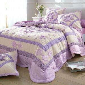 Blancheporte Přehoz na postel patchwork lila pléd 220x240cm