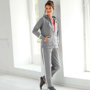 Blancheporte Mikina na zip šedý melír/bílá 50