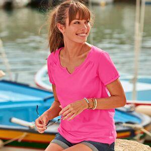 Blancheporte Jednobarevné tričko s tuniským výstřihem růžová 50