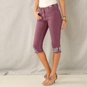 Blancheporte Korzárské kalhoty s výšivkou švestková 40