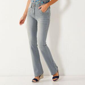 Blancheporte Strečové bootcut džíny v opraném vzhledu šedá 50