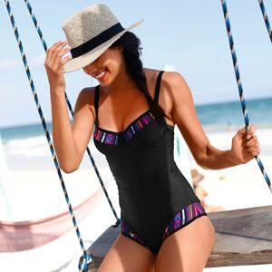 Blancheporte Jednodílné zeštíhlující plavky, s kosticemi černá/potisk, koš.D 52