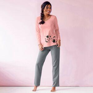 Blancheporte Pyžamo s potiskem kočky, sada 2 ks broskvová+světle tyrkysová 38/40